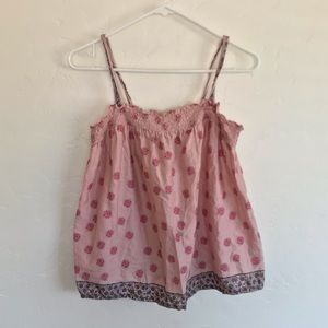 American Eagle Outfitters Pink Printed Smocked Top